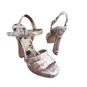 SAM EDELMAN snakeskin pattern strappy heels
